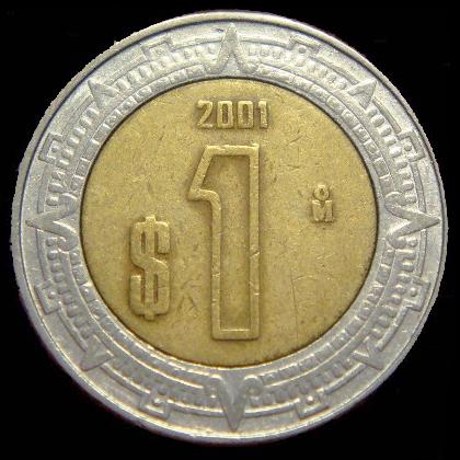 1 Peso Mexicano Reverso